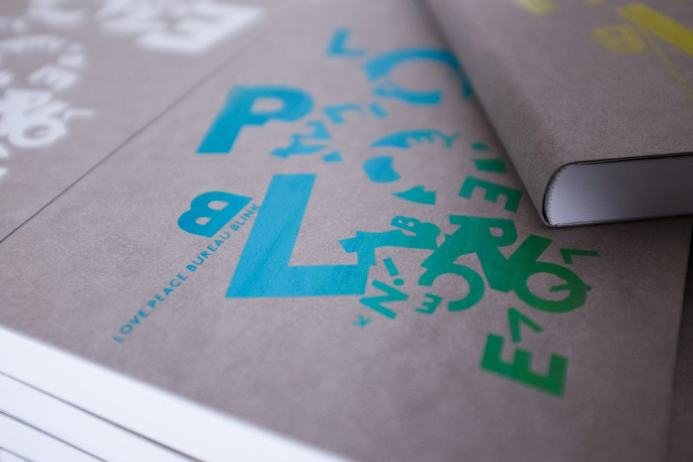 Image of *LOVE PEACE BLINK* HANDPRINTED NOTEBOOK