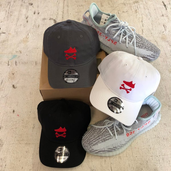 "Image of YEEZY CROSSBONES EMBROIDERY ""RED"" DAD HAT"