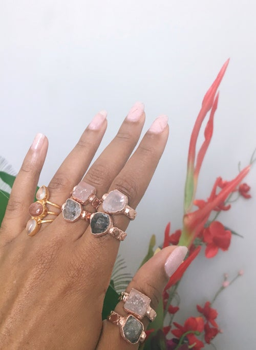 Image of ROSÉ • Rose Gold Crystal Rings