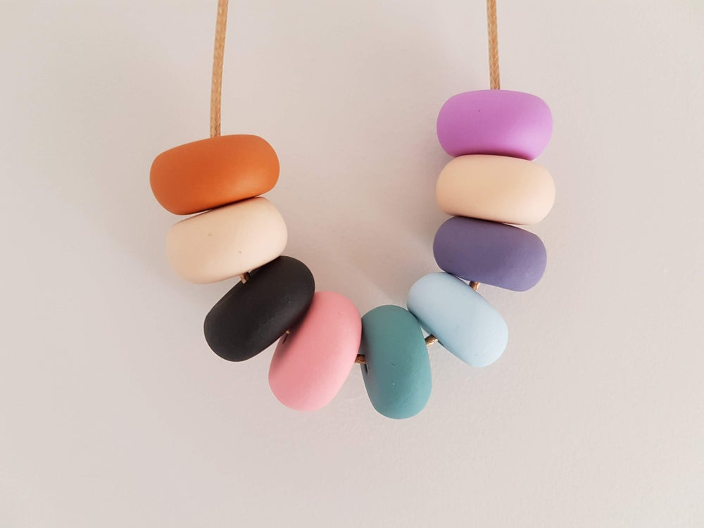 Image of Multicoloured mix of colours - clay bead necklace
