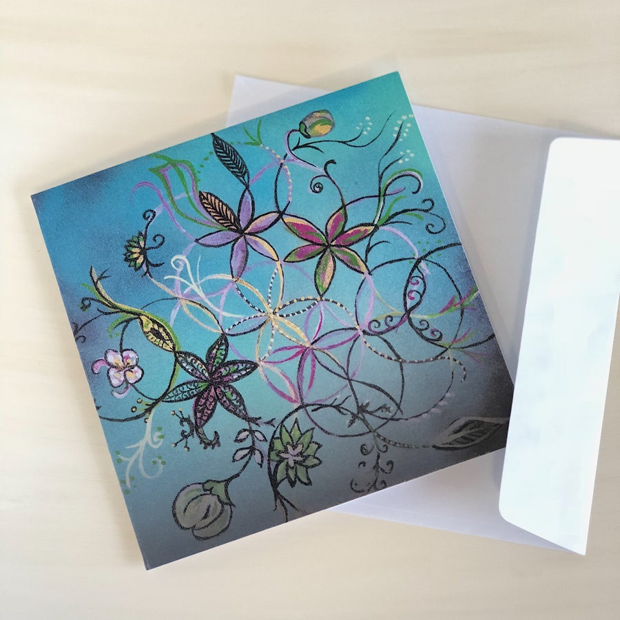 Image of FLOWER OF LIFE GREETING CARD