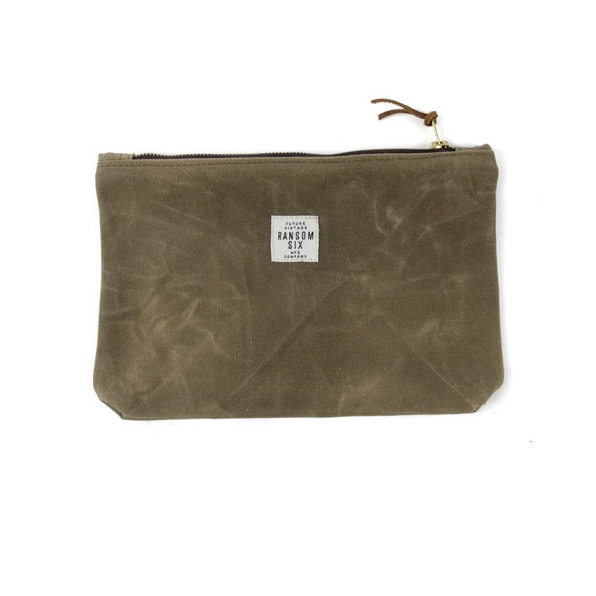 Image of Waxed Canvas Zipper Pouch - Olive