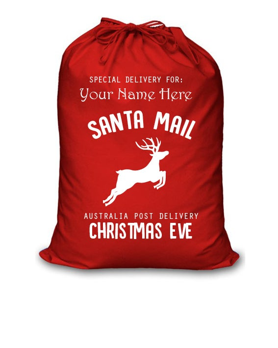 Image of Personalised Christmas Santa Sack - Santa Mail - Red Cotton