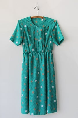 Image of SOLD Dots And Boomerangs Teal Dress