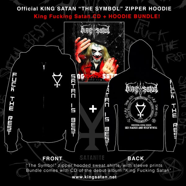Image of King Satan The Symbol Zipper Hoodie + CD Bundle