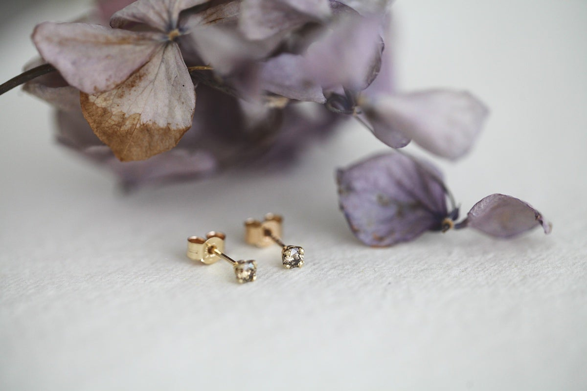 Image of  Little 3.0mm champagne diamond stud earrings