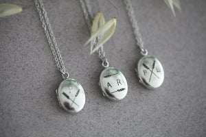 Image of *NEW* Personalised Barleycorn engraved lockets (9ct gold and silver)