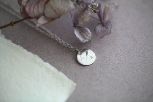 Image of *NEW* Personalised Barleycorn engraved silver disc necklace