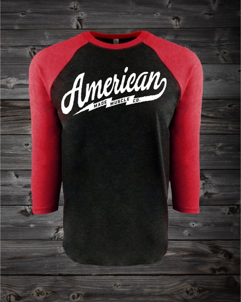 Image of Bolt - Unisex 3/4 Sleeve - Vintage Red and Vintage Black
