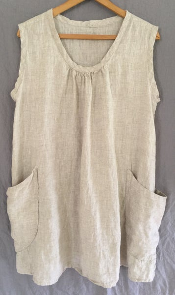 Image of sleeveless linen tunic in natural