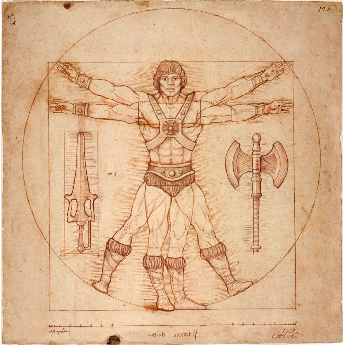 Image of VITRUVIAN HE-MAN  limited edition of 30 Giclèe print on fine art canvas