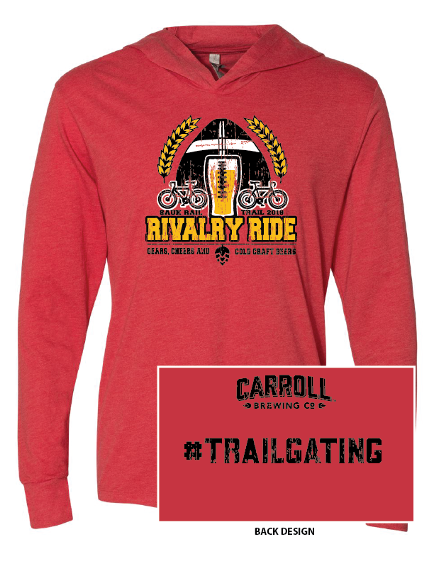 Image of Vintage Heather Red Rivalry Ride Hooded Long Sleeve T