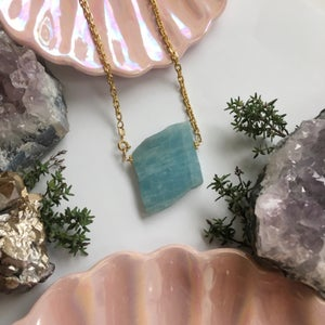 Image of Golden Oceans Necklace - Chrysoprase, one of a kind
