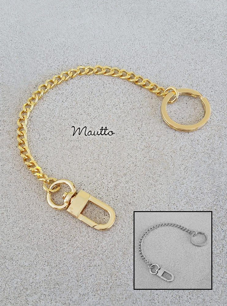 Image of Bag Accessory Charm Chain - Gold or Nickel - Mini Classy Curb Diamond Cut - #16C LG Clasp + Keyring