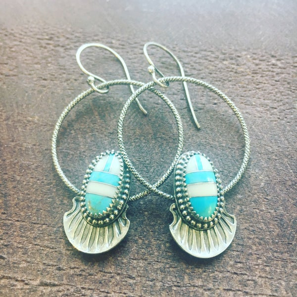 Image of Inlay Turquoise Stone N Hoop Earrings