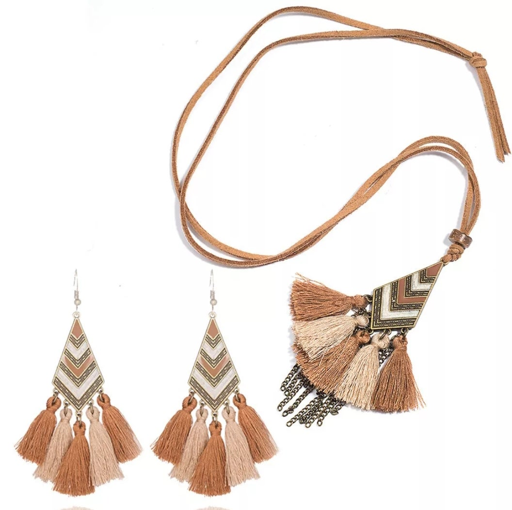 Image of Chevron Earring & Necklace Set