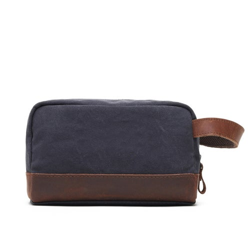 Image of Personalized Canvas Toiletry Bag, Best Groomsmen Gift, Custom Canvas Dopp Kit with Leather Accents