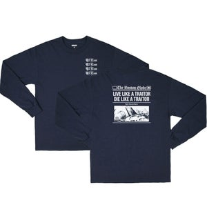 Image of 90East Globe Long Sleeve Navy Blue