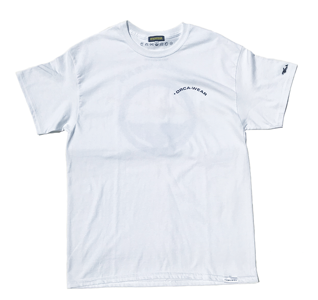 Image of Orca Tail Logo on the Back T Shirts White