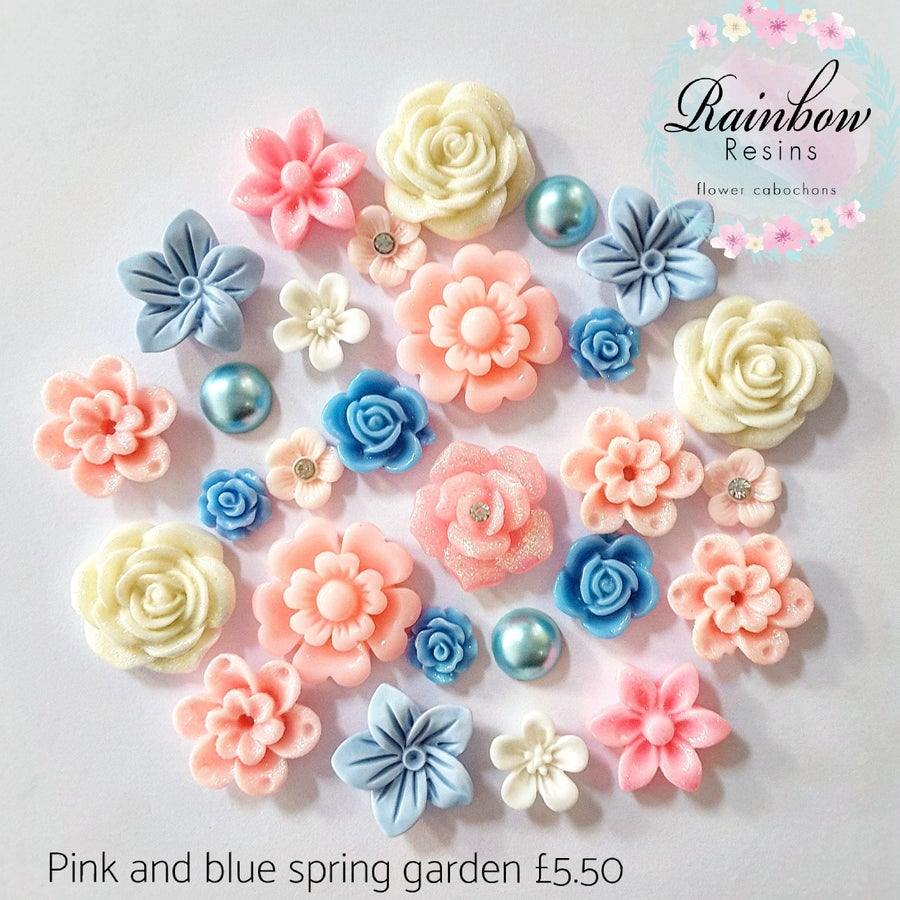 Image of Pink and blue spring garden