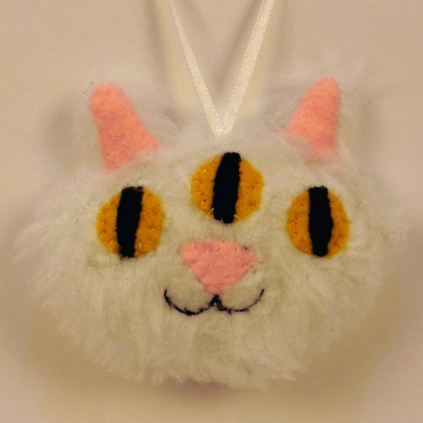 Image of Three eyed kitty ornament - white fur