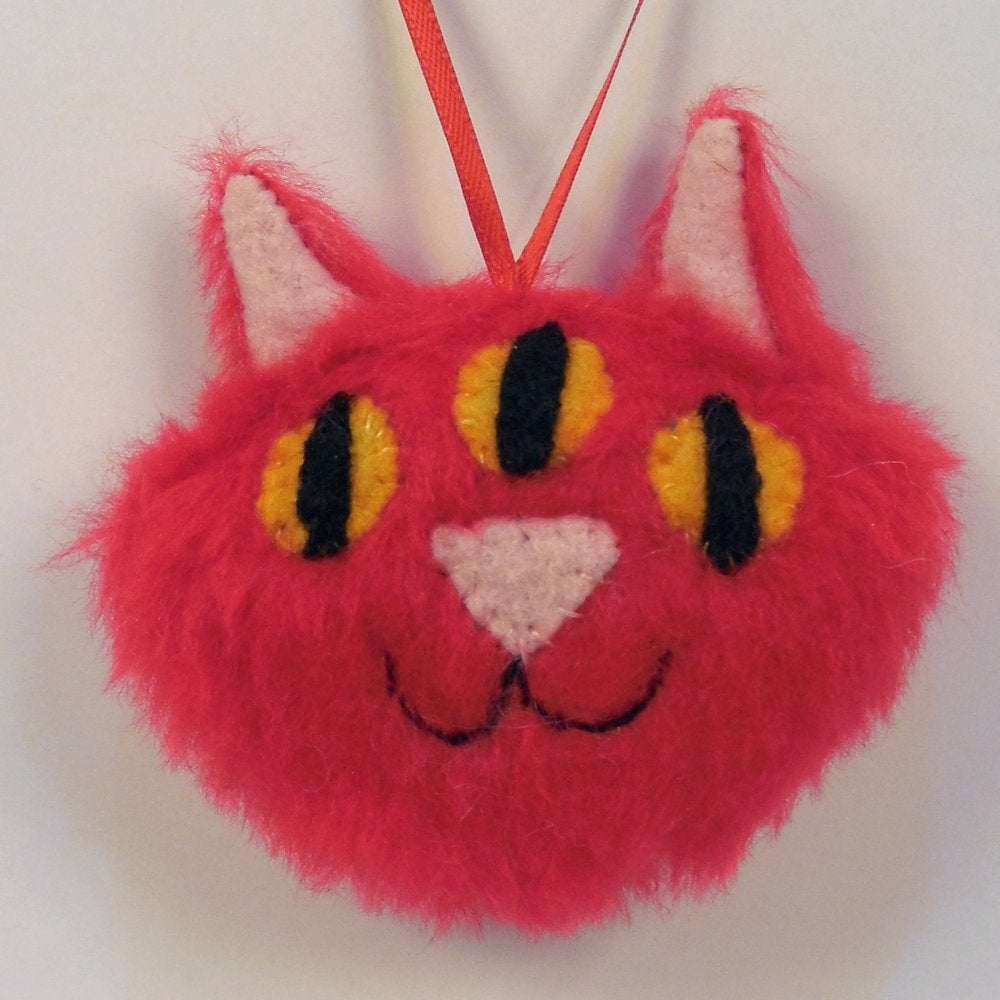 Image of Three eyed kitty ornament - red fur