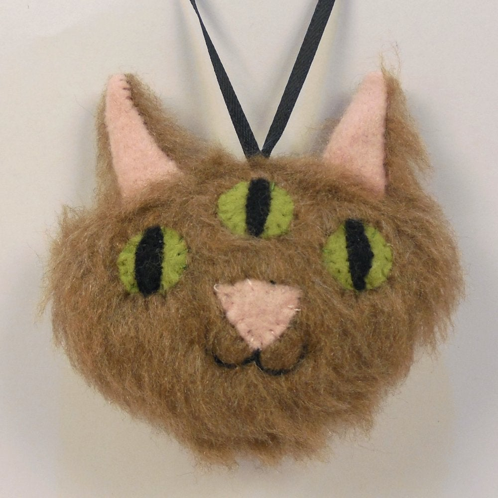 Image of Three eyed kitty ornament - brown