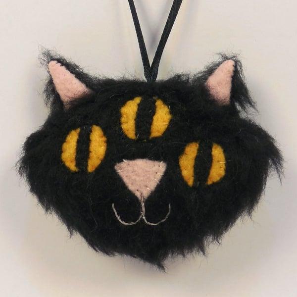 Image of Three Eyed Kitty ornament - black