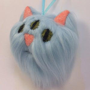 Image of Three eyed kitty oranment - Light blue
