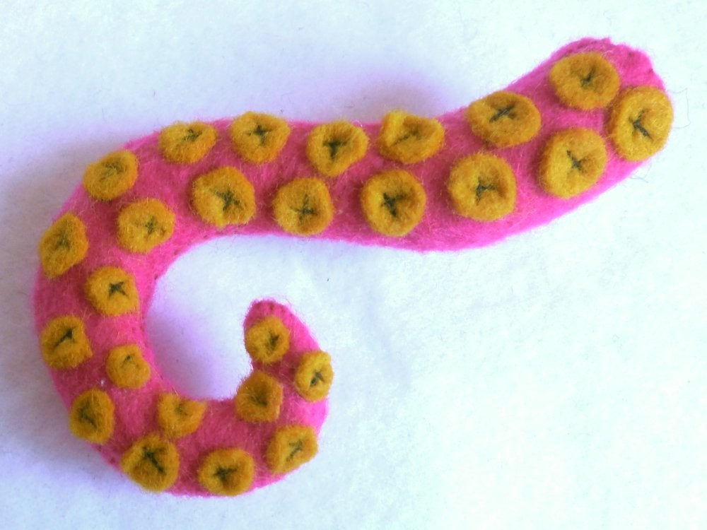 Image of Tentacle hair clip - Hot pink, yellow