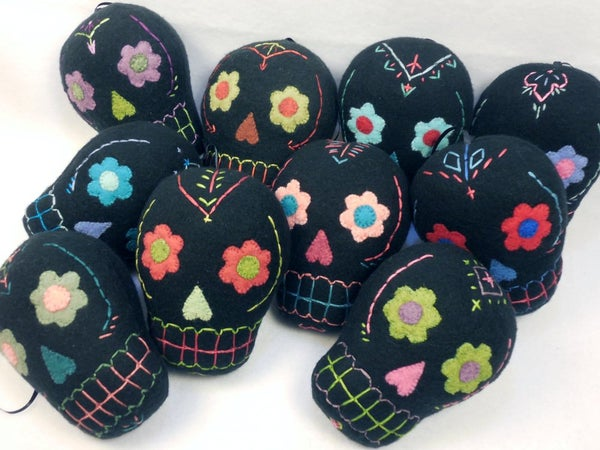 Image of Sugar Skull plush ornaments - Black