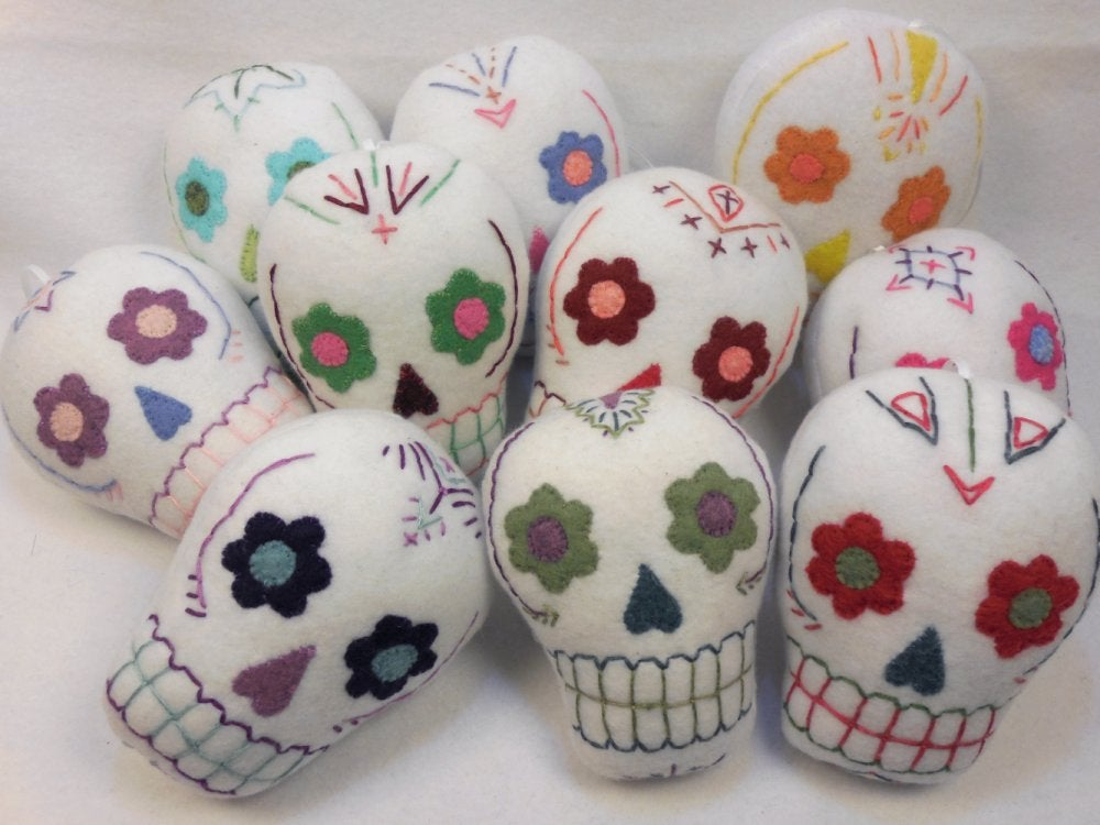 Image of Sugar Skull plush ornaments - white