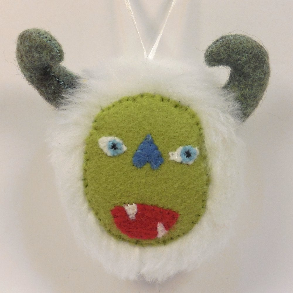 Image of Monster ornament - White, green