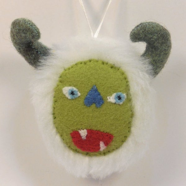 Image of Monster ornament - White, green
