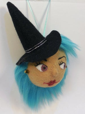 Image of Pretty witch ornament - blue hair