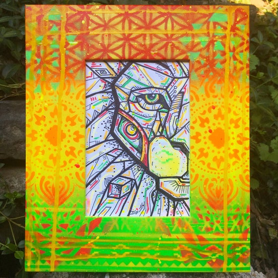 Image of Sacred Lion illustration w/custom frame