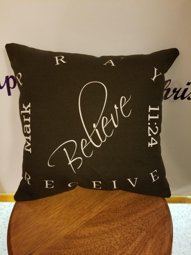 Image of Pray/Believe/Recieve B&W Pillow 2-sided
