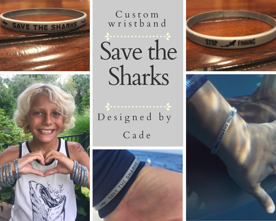 Image of 1 SAVE THE SHARKS-STOP FINNING SILVER SILICONE WRISTBAND