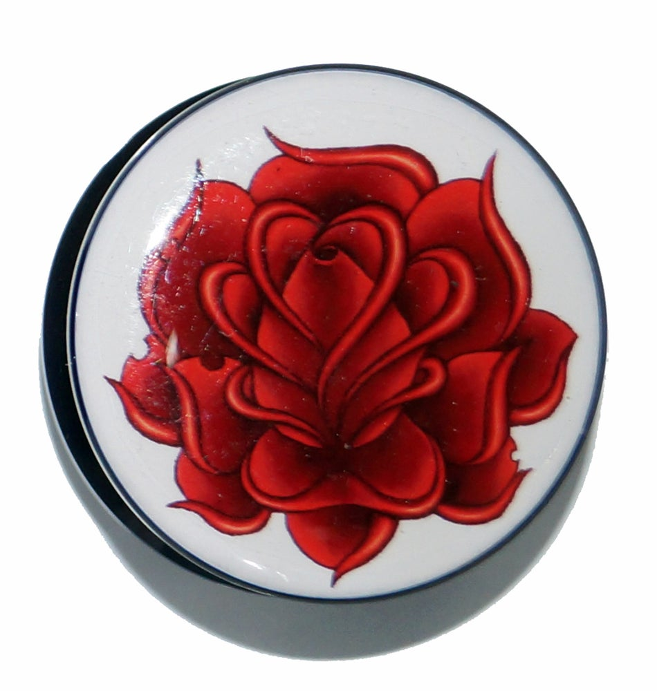 Gothic twilight body jewellery oriental lotus flower acrylic plug image of oriental lotus flower acrylic plug mightylinksfo