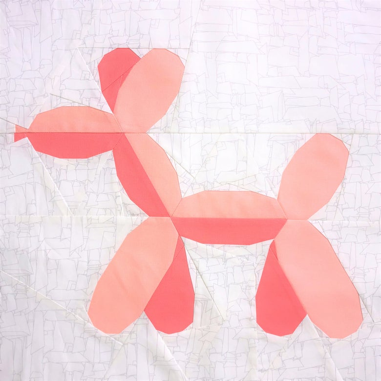 "Image of Balloon Doggy Quilt Block Pattern - 15"" x 15"""