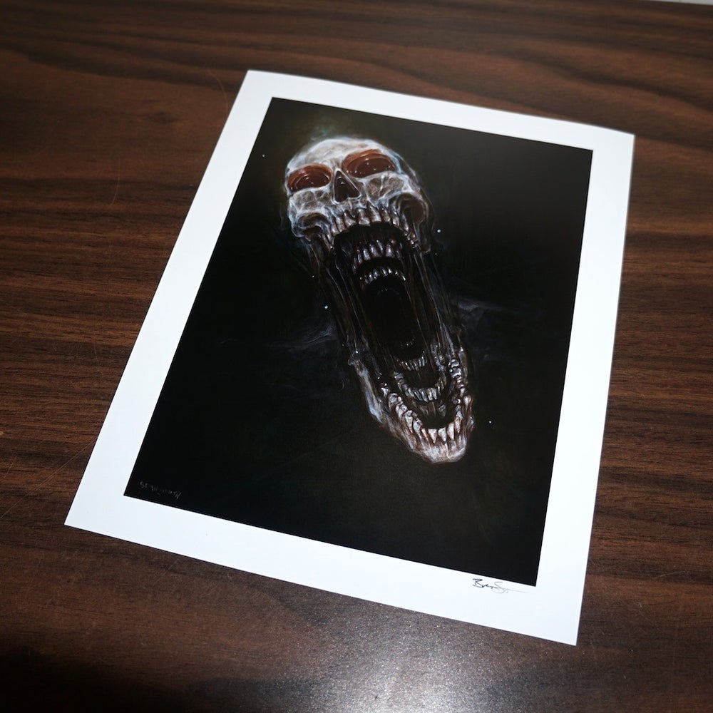 Image of untitled (screaming skull) signed, archival print