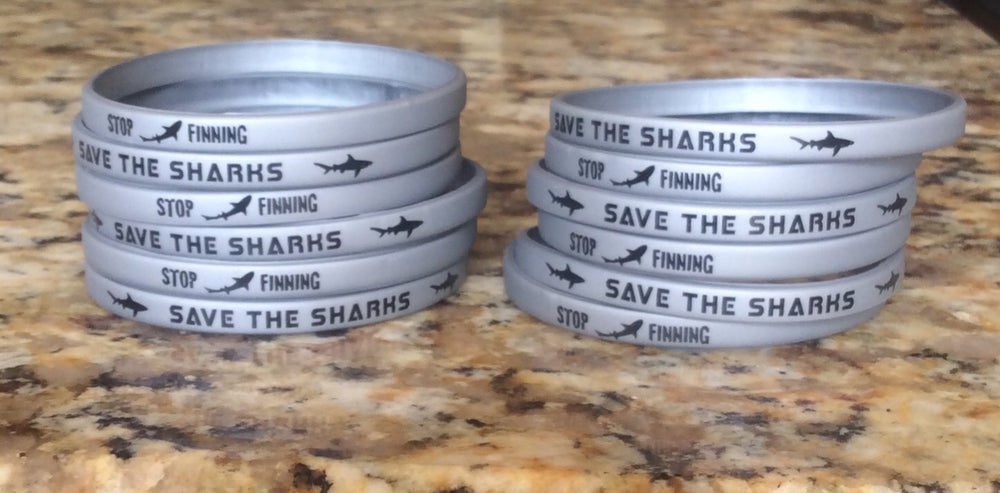 Image of 12 SAVE THE SHARK -STOP FINNING wristbands  (lot of 12)
