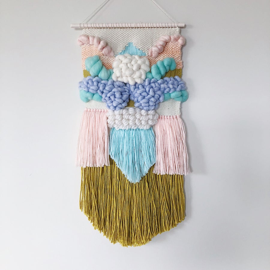 Image of Woven Wall Hanging - Mustard & Pastel Delight II