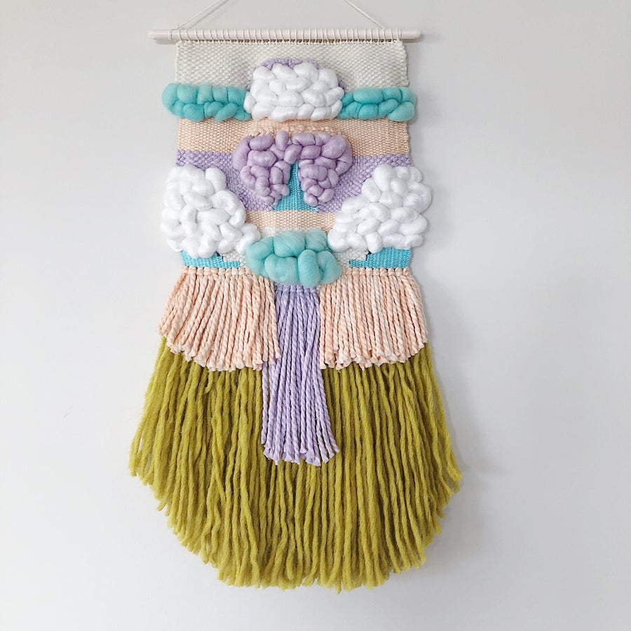 Image of Woven Wall Hanging - Mustard & Pastel Delight