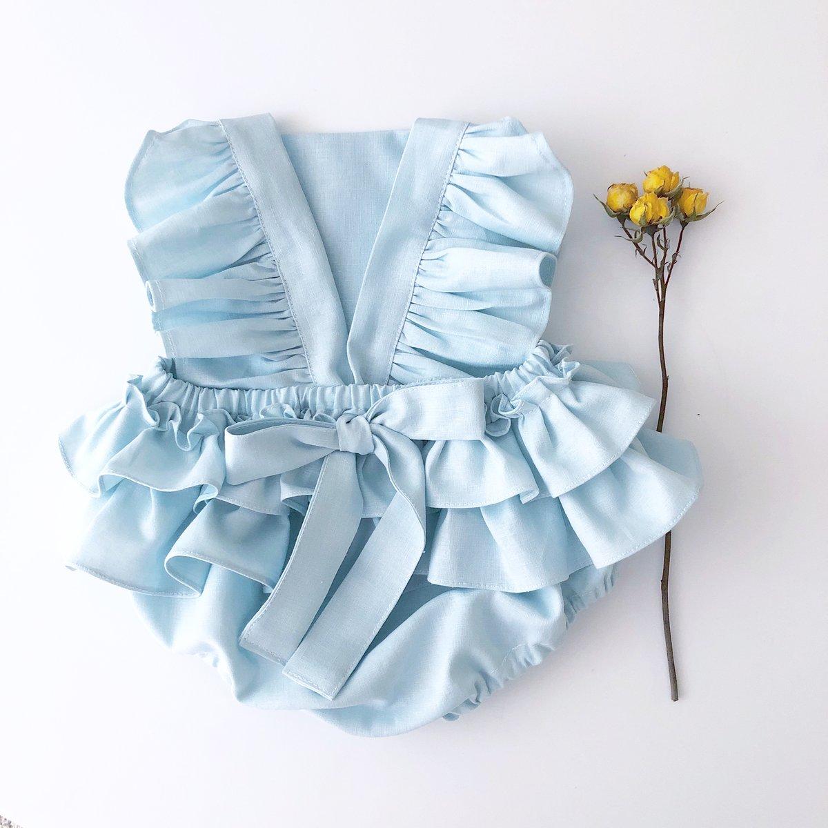 Image of  Blue linen flutter romper
