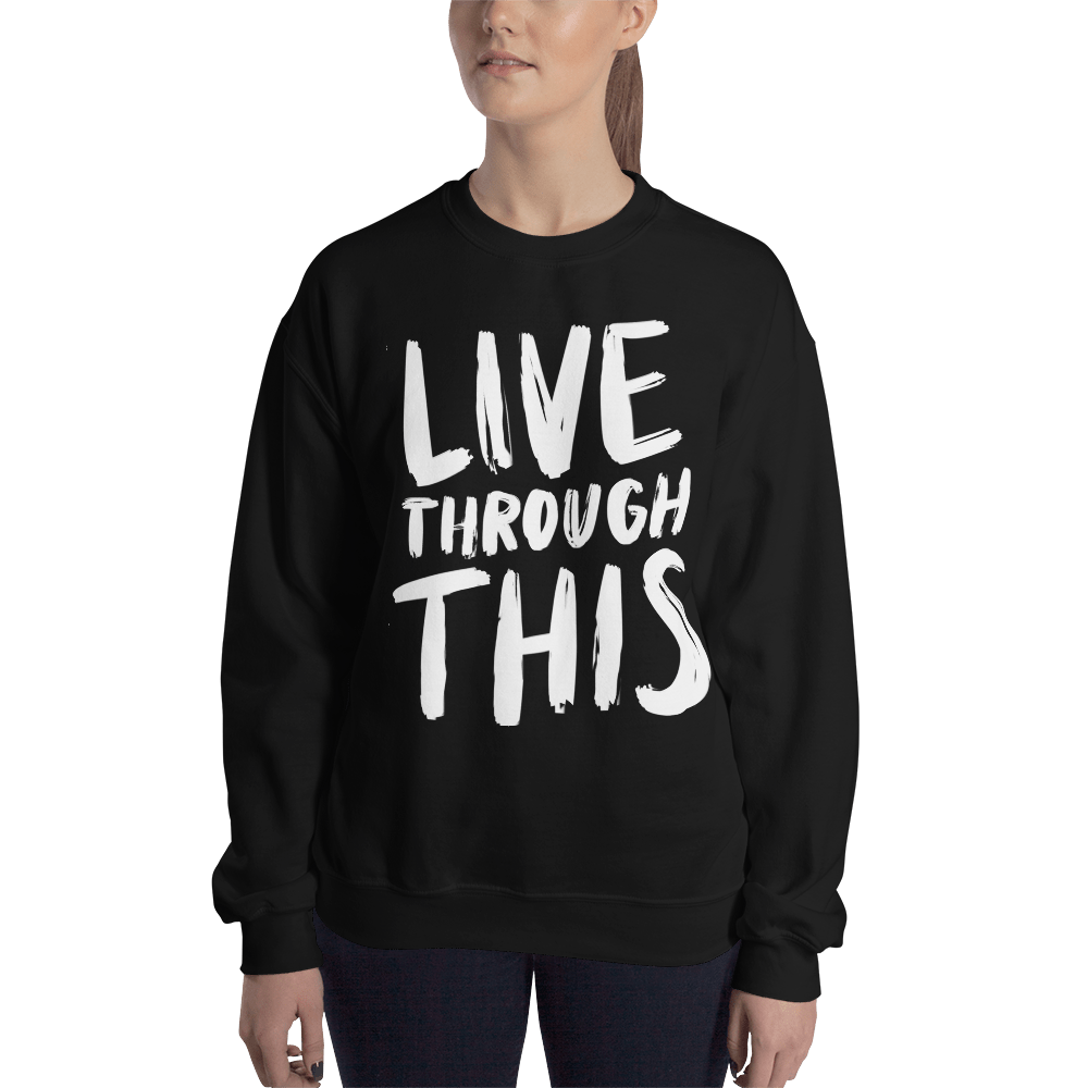 Image of Unisex Brushstroke Crew Neck Sweater - Black