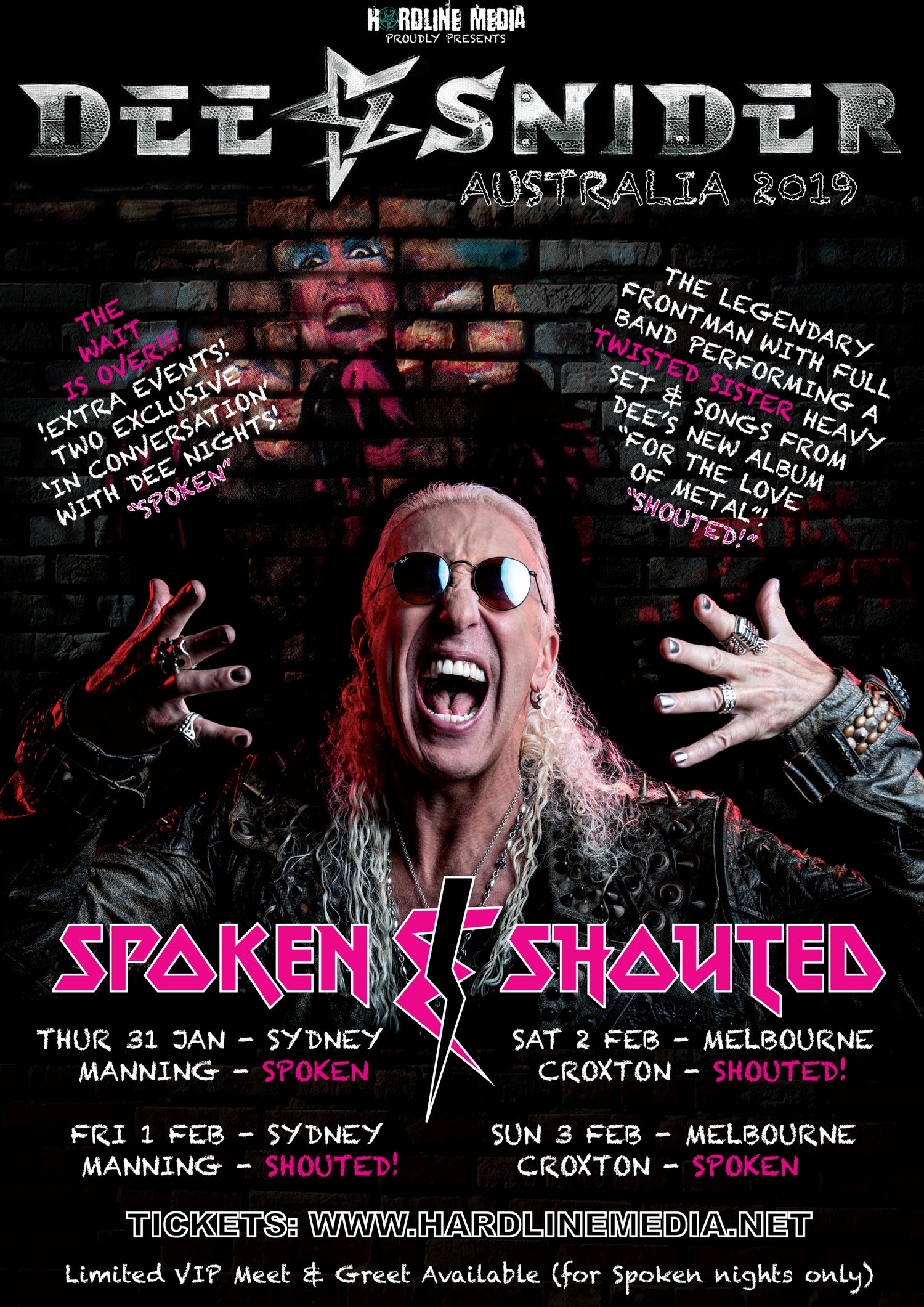 Image of GO TO OZTIX!!! DEE SNIDER (GA) SPOKEN - MELBOURNE, CROXTON - SUN 3 FEB - TICKETS THROUGH OZTIX!!!