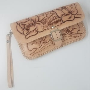 Image of Natural Hand-Tooled Leather Clutch with Wristlet and Crossbody Strap
