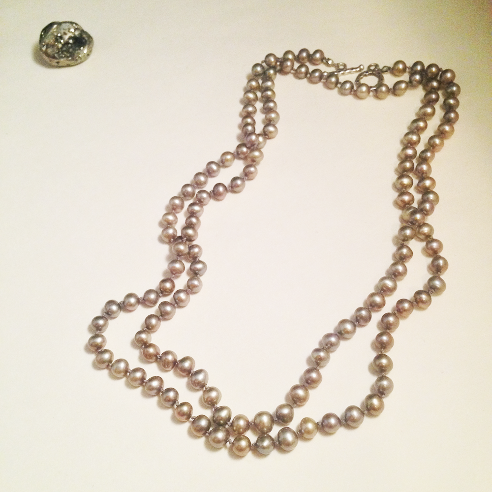 """Image of The Sun Hand Knotted Beige Freshwater Pearl Necklace Sterling Silver Toggle Clasp  Extra Long 37"""""""