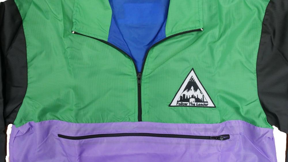 Image of Color Block Quarter Zip Jacket (Mint)